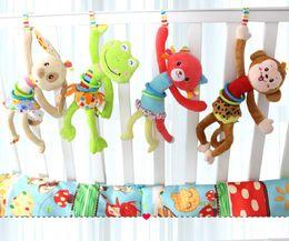 Hanging Monkeys Toy Canada - hot lovely animal Soft Plush infant toys child bed lathe hanging rattles pull shock baby toy educational development