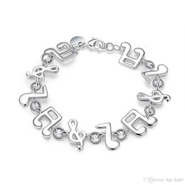 Friendship Bracelet Links Canada - Music Melody Charms Bracelet 925 Sterling Silver Jewelry Classic Fashion Accessories for Women Girls Link Friendship Christmas Gifts