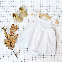 Betiste Bébé Brodé Pas Cher-Boutique Ins Summer baby girl Newborn brodé Robe Romper Flutter manches Robes blanches Rompers 100% coton Birthday Party 2017 0-2T