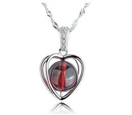 $enCountryForm.capitalKeyWord Australia - Love Heart Garnet Pendant 925 Sterling Silver Necklace High Quality Pendant Plated White Gold Color NO CHAIN Christmas Gift