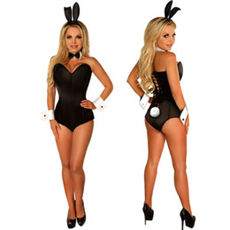 $enCountryForm.capitalKeyWord UK - Black Bunny Zentai Suit Women's Sexy Bunny Cosplay Bodysuit rabbit uniform temptation Jumpsuit nightclub Rabbit Girl Costume