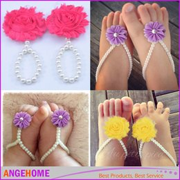 pearl flower girl shoes UK - Fashion Pearl Chiffon Flower Infant Baby First Walker Shoes Feet Ring For Photography Props Baby Girl Barefoot Sandals Toddler Shoes