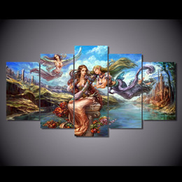 $enCountryForm.capitalKeyWord Canada - 5 Pcs Set Framed Printed Anime Angel Girl Painting Canvas Print room decor print poster picture canvas Free shipping ny-5784