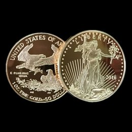 $enCountryForm.capitalKeyWord NZ - 100 pcs The American Eagle In God trust Freedom 2016 real gold plated Liberty souvenir coin 32.7 mm in diameter free shipping