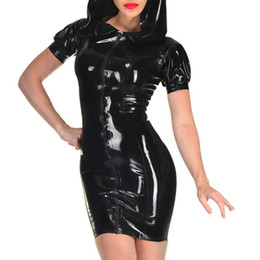 Wholesale womens fetish costume resale online - Faux Leather Catsuit Women With Hat Dance Costumes Sexy Womens Latex Fetish pvc Fantasias Eroticas Lingerie Products S XXL Plus Size