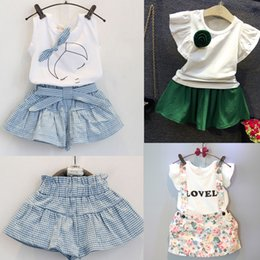 cute baby white t shirt NZ - 2016 Summer Kids Suit Kids Girls Cute Bow Girl Dress Lace White T Shirts Baby Skirt Dress Suits Child Floral Print Overalls Dresses