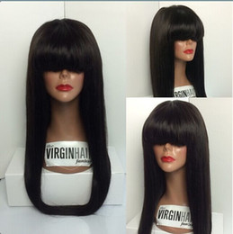 ombre curly human hair wigs bang 2019 - Wholesale human hair full lace wigs front lace wig with full bangs,silky straight hair wigs 10-26inch in stock