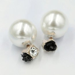 mother pearl mosaics 2019 - XS New Double Roses Flowers Imitation Pearl Ball Earrings Bead Side Mosaic Crystal Stud Earring for Women Party Jewelry