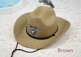 Hat Bulls Canada - New Western Rodeo Cowboy Brown Straw Hat Studded Leather Bull Band Unisex Sun Beach Hat For Men Women 6pcs lot Free shipping