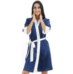 Wholesale- Ladies  New Rayon Satin Kimono Gown Chinese Women Robe Nightgown  Sleepwear Sexy Lingerie Bridesmaid Gift S M L XL XXL 0707 e4dcc021f