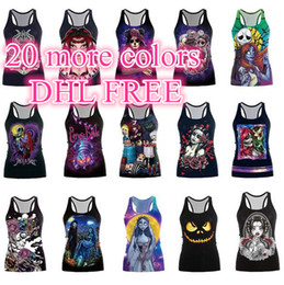 Single Pour Dames Pas Cher-DHL FREE 3D corps Brides zombie Halloween singlet gilet mal Joker Sanite'day sans manches femmes Débardeurs Lady's sports Halter Camisoles