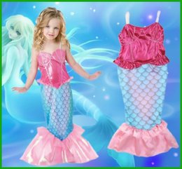 $enCountryForm.capitalKeyWord Canada - 2016 newest mermaid baby girls swimsuit princess sequined hot selling pink red blue summer vedstido sundress children femal clothing sets