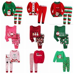 fall 2017 christmas pajamas for kids pijama sets boys pajamas girls pjs sleepwear baby pyjamas santa nightgown stripes pijama suit wholesale
