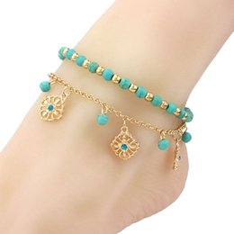 $enCountryForm.capitalKeyWord Canada - 18K Yellow Gold Plated Turquoise Blue Beaded Flowers Tassels Combination Anklet Bracelet Summer Beach Fashion Foot Jewelry for Women