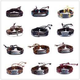 $enCountryForm.capitalKeyWord Canada - New Brand Hot Sale Vintage Leather Bracelet Metal Cross Jesus Tag Letter Believe Adjustable Wax Cord Bangle for Women Men Friendship Jewelry