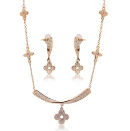 Wholesale Jewelry Gift Sets NZ - Fashion Boutique Necklace Earrings Bride Jewelry Sets For Women Best Gift Fine Flower Jewelry 10sets min order Free Shipping 61152212
