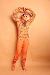 Body Suits Adults Australia - (D2-014)Top-high Quality Unisex Adult Full Body Orange Lycra Spandex Superhero Spiderman Zentai Suits Halloween Costume