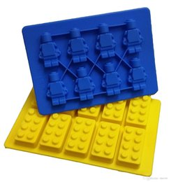 sales block UK - LEGO Family Party Building Blocks and Robots Ice Bricks Chocolate Ice Cake Jelly Mold Silicone Ice Cube Tray Brick 2016 New Hot Sale!