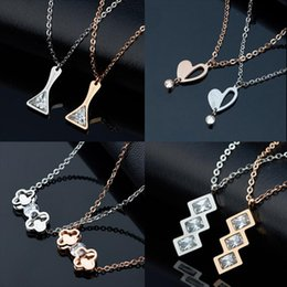 $enCountryForm.capitalKeyWord NZ - Discount DHL shipping & Wholesale Quality Fashion Jewelry Necklaces Chokers Rose Gold Crystal Titanium Steel Necklaces 60pcs lot 160513-6
