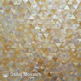 Sea Shell Yellow Mother Of Pearl Mosaic Tile For Interior House Decoration  Bathroom And Kitchen Wall Tile Triangle Pattern