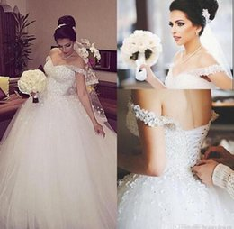 Robes De Mariage Incroyables Pas Cher-Arab African Gorgeous Sparkly White Lace Ball Gown Robes de mariée taille grande Formal Beading Lace-up Back Church Robes de mariée Puffy