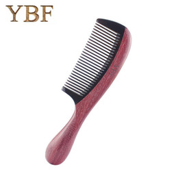 Chinese  YBF Ox Horn Expensive Antistatic Massage Wood Purleheart sapanwood Combs Brazilian Wedding Bridal Hair Brush Brosse for pro gift manufacturers