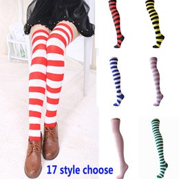 Girl Knees Leggings NZ - Girls Striped Knee High Socks Halloween Christmas Long Stocking For Adult Women Dress Long Leggings Socks HH-S12