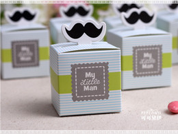 Mustache Birthday Party Decorations NZ - 500pcs lot My little Man Cute Mustache Baby Shower Favors Baby Shower Decoration Birthday Souvenirs Birthday Gift Box