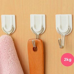 adhesive coating 2019 - Wholesale- 6pcs White Self-adhesive Wall Hook Hanger Plastic Sticky Door Hooks Holder for Clothes Towel Coat Bathroom Ki