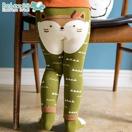 Barato Outono Menina Pant Set-New Autumn Winter Baby Boys Girls Busha PP calças Toddler Infant Cartoon Fox Fashion Tights Legging Long Wave Pants With Socks Set A5702