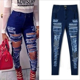 Pantalones Calientes Baratos-Hot Helling Summer punk estilo calle Mujeres Robin Jeans ripped Holes Harem Pants Jeans Slim jeans vintage novio para las mujeres