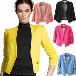Barato Blazers Quentes Para Mulheres-Hot Sale Mulheres Blazer Jaqueta Primavera Novo Solid Color Suit Ruched manga Slim-Fit Thin Coat Cardigan Tops Drop Shipping L3501-3