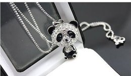 Awesome necklAces online shopping - New Shiny exclusive panda necklace rhinestone super charm panda necklace For women jewelry Cute awesome panda pendant necklaces