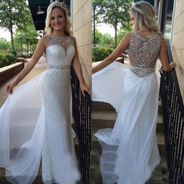 Crystal Back Beaded Evening Dresses Canada - White Sequined Crystal Beading Prom Gowns Boat Neck Hollow Beaded Back Chiffon Overskirt Pageant Evening Dresses Wear Dubai Party Gown 2016