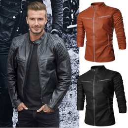 mens long leather motorcycle jacket NZ - Personalize Men Autumn Jacket Leather Stand Collar Design Outwear Jacket For Mens Multi Pocket British Wild Motorcycle Men Jacket J160926
