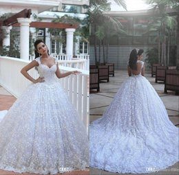 Wholesale 2018 Arabic Dubai Said Mhamad Cathedral Train Luxury Wedding Dresses Ball Gown Sheer Sweetheart D Floral Flowers Backless Bridal Gowns