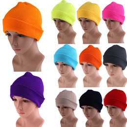 21 Colors High Quality Hats Female Winter Beanies Solid Candy Color Men  Women Warm Cuff Plain Knit Ski Long Beanie Skull Cap 7bfdb8c40e0