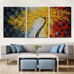 Lucky Tree Modern Abstract Oil Painting Framed With Strecher Wall Pictures  For Living Room Heavy Color 3 Panel Canvas Art Home D