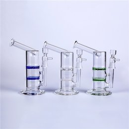 Turbine Percolator Bong UK - Glass Bong Glass Water Pipe Oil Rigs Height 7.5 inch 18.8mm Joint Honeycomb and Turbine Two Function Glass Bubbler Percolator
