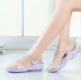 Jelly shoes transparent flats online shopping - 2016 New Pattern Sandy Beach Reverent Shoe Woman Jelly Mary Jane Rose Aqua Printing No Fashion Transparent Sandals For Women