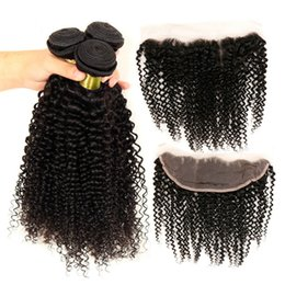 Human Hair Bundles 4pcs Canada - Free Parting Curly 13*4 Lace Frontal Closure With Brazilian Hair Weaves Deep Curly 3Pcs Brazilian Human Hair Bundles With Frontal 4Pcs Lot