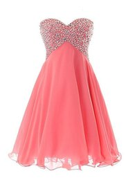 Barato Vestidos De Baile Sweetheart Venda-Hot Sale curto Mini Vestido Chiffon querida mangas Lace-up vestido de baile vestido do baile com cristais Sequins