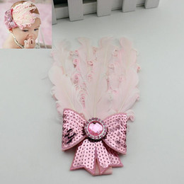 Barato Peacock Headband Flower Girl-10Pcs / Lote Atacado Cute Baby Kids Girl Infant Toddler Feather Headband Pavão Lace Flower Hair Band Girl Moda Acessórios de cabelo