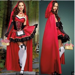 Robe De Fille Sexy Pas Cher-2017 Costume sexy Vital Wench Petite robe cosplay à capuche avec Cape Glove Costume d'Halloween