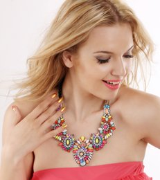 $enCountryForm.capitalKeyWord NZ - Floral Colorful Rhinestone Trendy Multi-colored Flowers Chunky Colorful Crystal Flower Statement Necklace Choker High Quality Floral Jewelry