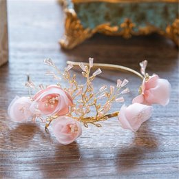 Fascinateurs De Mariée Rose Pas Cher-Vintage Wedding Bridal Pink Flower Headband Crystal Rhinestone Accessoires pour cheveux Crown Tiara Princesse Queen Fascinators Headdress Jewelry