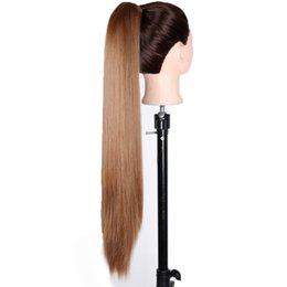 Hair syntHetic pony online shopping - Long Straight Clip In Hair Extensions Piece Blonde Gray Little Pony Tail Heat Resistant Synthetic Hair Claw Ponytails