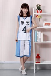 Discount kuroko basket cosplay 2015 Anime Kuroko no Basket Basketball Timor Uniforms No.4 No.5 No.6 No.7 No.8 No.15 Cosplay Costume Sports Jersey