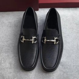 Rubber Day Canada - luxury 2017 quality shoes Gancio ornamented moccasin in tumbled calfskin on a rubber sole men casual genuine leather free shipping
