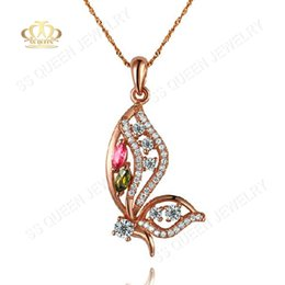 Wholesale 35 silver anti allergic K rose gold plated silver elegant colored tourmaline butterfly pendant necklace chain stamp